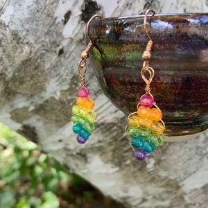 Handmade Rainbow Pride Love Is Love Earrings